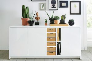 schuller white sideboard with drawers