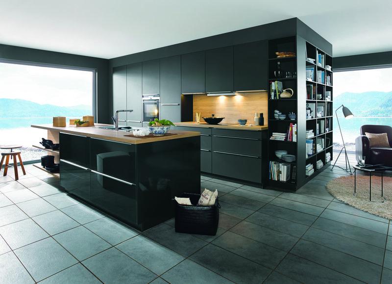 schuller glassline kitchen design grey