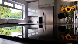 new kitchen, cooksleep, cooksleepnavenby, kitchen transformation, sunflowers, reflection, hob, window