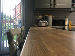 hardwood worktop, kitchen transformation, after, cooksleepnavenby, affordable kitchen, worktop, radio