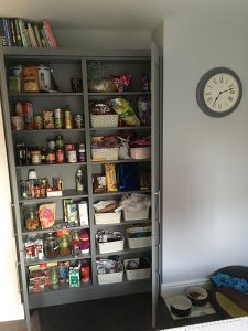 kitchen transformation, after, cooksleepnavenby, affordable kitchen, large cupboard, pantry cupboard, open doors