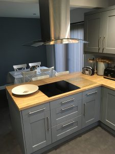 kitchen transformation, after, cooksleepnavenby, hob, extractor fan, dust grey units, kitchen stori