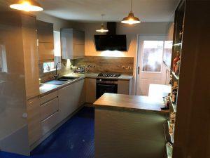 cooksleep, kitchen design, kitchen transformation, lincolnshire kitchens, new kitchen, blue flooring, glossy units