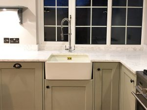 new kitchen, new sink and tap, apron sink, oversized, belfast sink