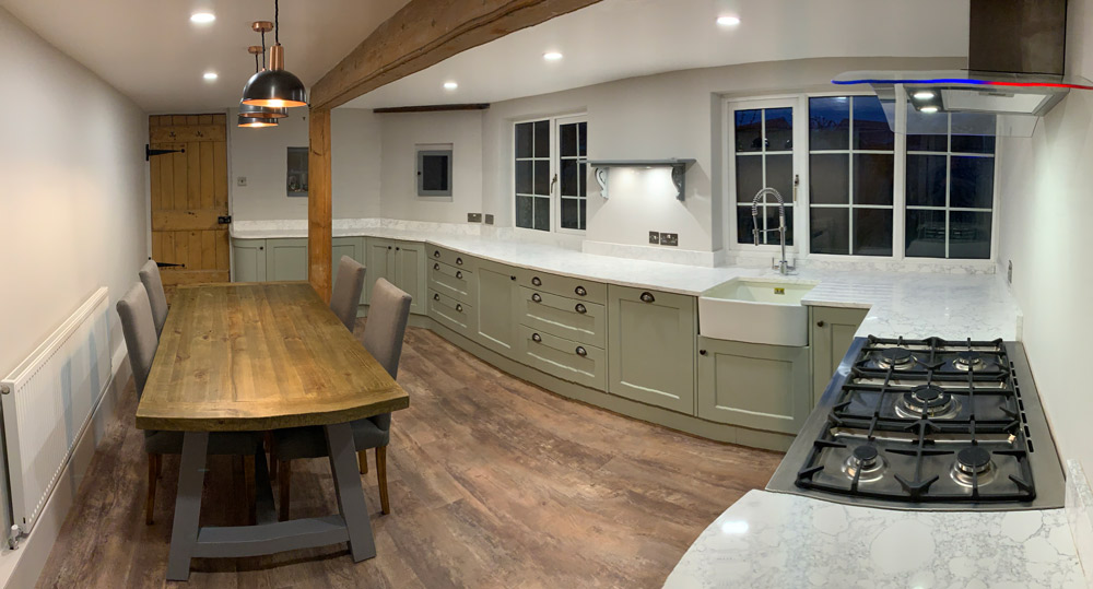 whole new kitchen, kitchen stori, wakefield, sage green cabinetry, wooden table, cooksleep, cooksleepnavenby