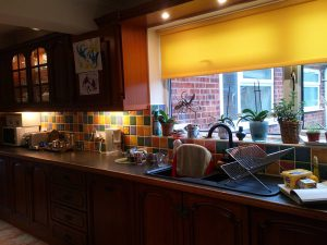 Old kitchen, dark wood, dark room, before the transformation