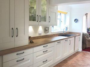 cooksleep, new kitchen, navenby, buckingham ivory door, integrated appliances, larder, bin, dishwasher