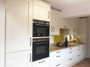 cooksleep, new kitchen, navenby, buckingham ivory door, integrated fridge freezer, integrated oven