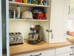 cooksleep, new kitchen, navenby, buckingham ivory door, appliances inside larder with plug sockets