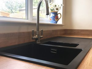 cooksleep, new kitchen, navenby, buckingham ivory door, drop in black sink
