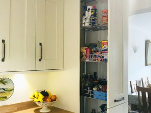 cooksleep, new kitchen, navenby, buckingham ivory door, pull out rack storage