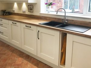 cooksleep, new kitchen, navenby, buckingham ivory door, undersink towel holder