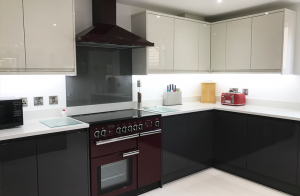 new kitchen stori strada gloss doors in porcelain and graphite