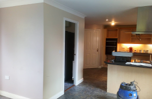 before the renovation, large utility room sticks out into room