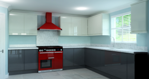CAD render of kitchen showing the sink, cooker, hob and extractor fan