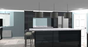 CAD render of kitchen, side view showing the cabinets replacing the utility room