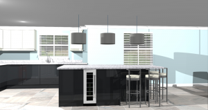 CAD render of kitchen. Side view looking at central island