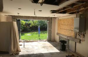 before the renovation, wall knocked down at the back to make space for bifold doors